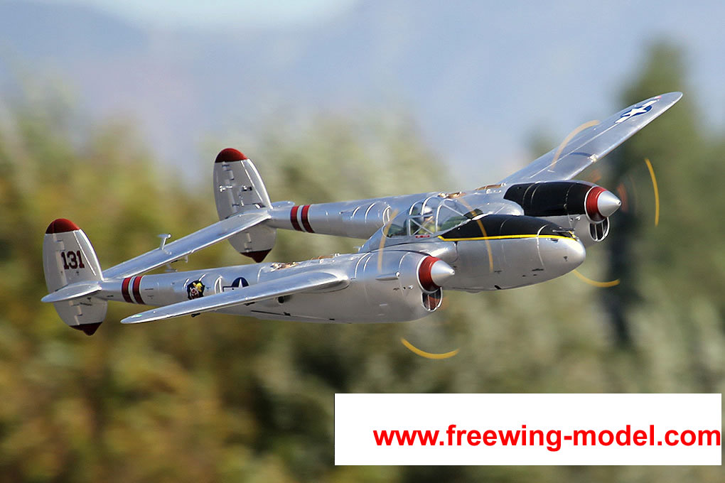 FlightLine RC P-38L Lightning Pacific Silver 1600mm (63  inch) Wingspan - PNP RC Airplane